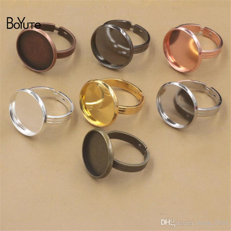 BoYuTe Round 10 MM 12MM 14MM 16MM 18MM 20MM Cabochon Base Ring Adjustable Diy Jewelry Findings Components