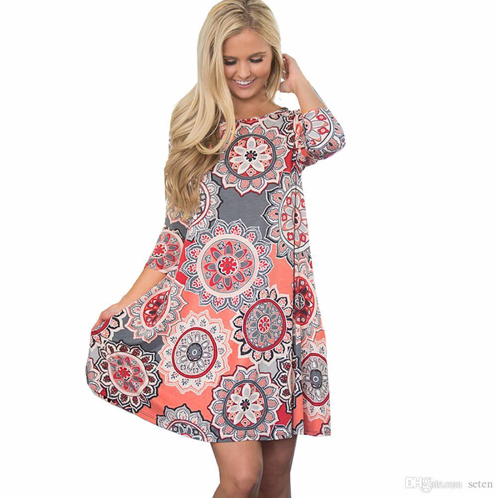 db15337e9 2019 Vintage Boho Womens Causal Dress Long Sleeve Printed Evening Party  Beach Floral Party Mini Dresses Vestidos Femininos Plus Size From Seten, ...