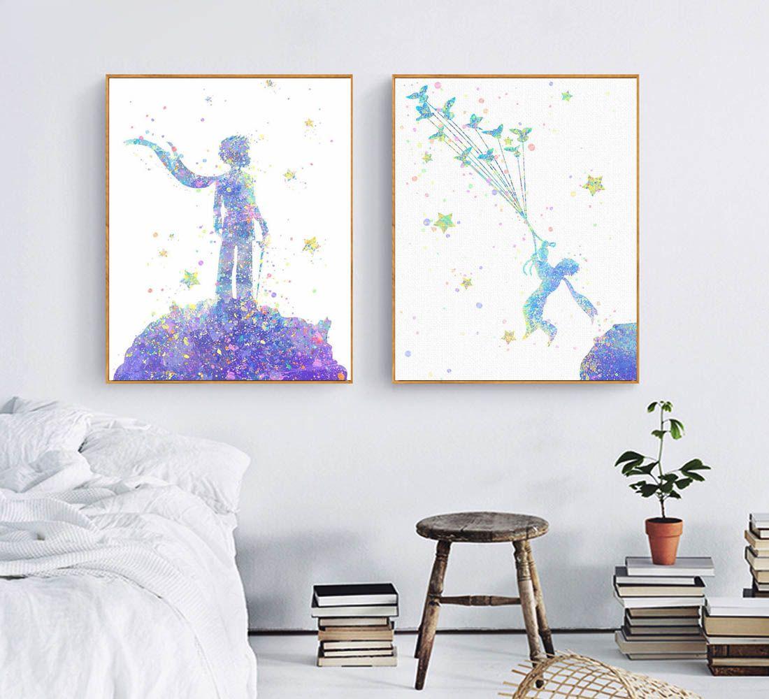 f2d25692193 Acheter Moderne Abstrait Aquarelle Petit Prince Fée Film Affiche Imprime  Mur Art Photo Garçon Enfants Room Decor Toile Peinture No Frame De  10.06  Du ...