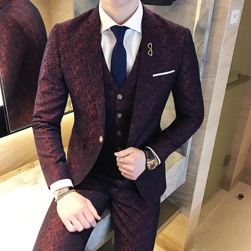 61ae6bda87312c Wine red jacquard 3 piece wedding suit men groom suit costume homme slim fit  Fashion vintage party prom (suit Jacket +vest+pant)