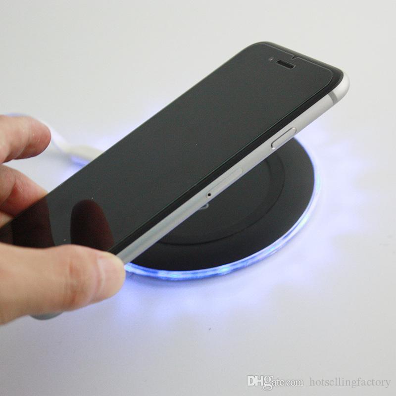 Cargador Qi de carga rápida inalámbrico redondo súper delgado caliente para iPhone X 8 Samsung Note8 S8 S7 S6 con paquete minorista DHL gratis