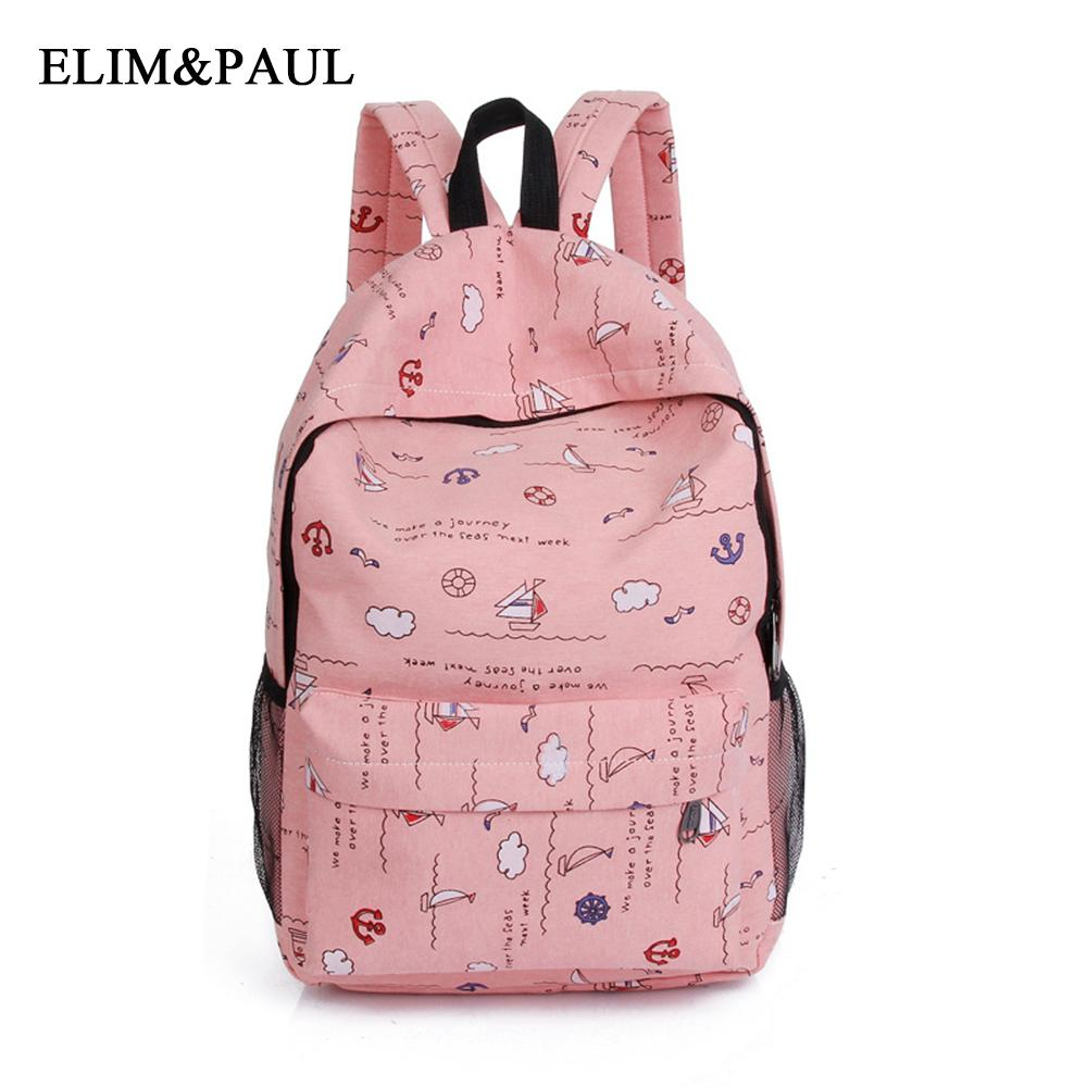 e2e8ddde8d8 Women's bag new college canvas backpack fashion small fresh middle school  bag boat cloud floral print girls student shoulder
