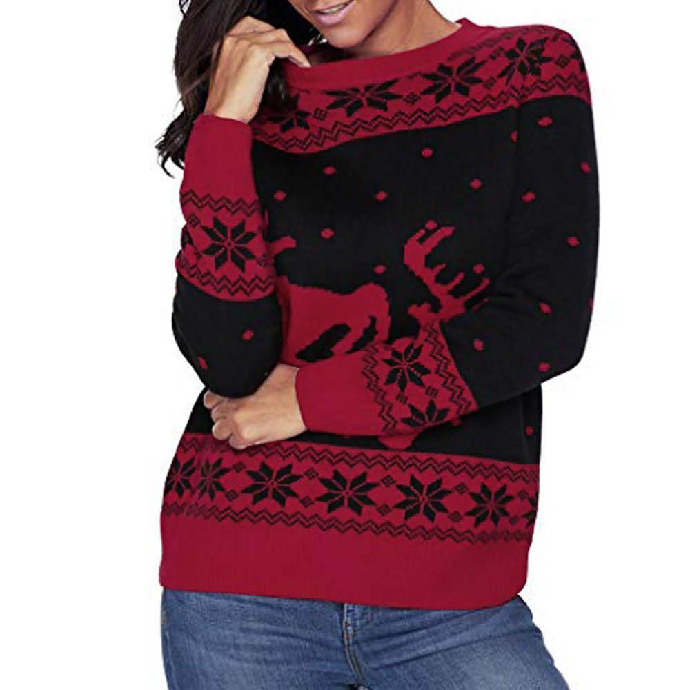 3b675d238c2c2 2019 FeiTong Sweatshirts Harajuku Hoddies 2018 for Women Christmas Pullover  Reindeer Patterns Floral Dot Top Blouse Sweatshirt Female