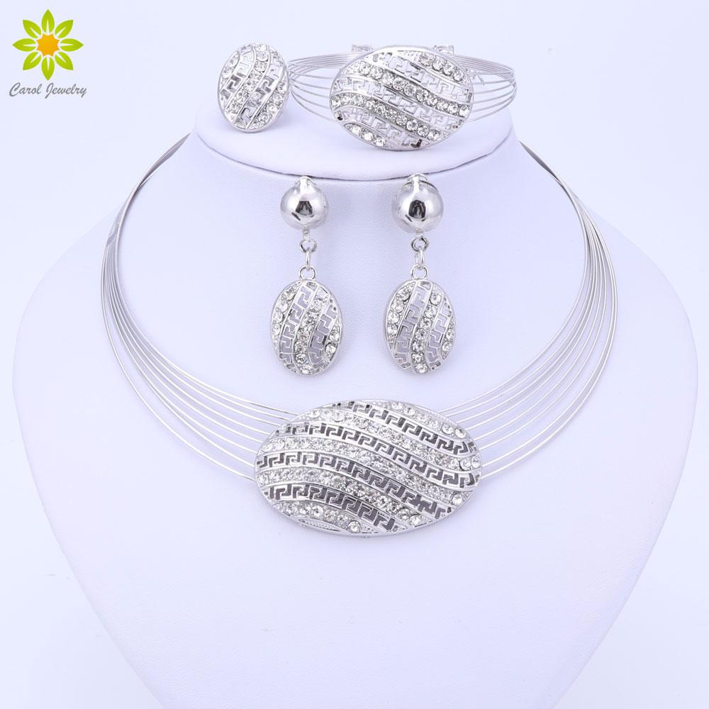 d2c647d51475 Whole SaleNew Dubai Jewelry Set Silver Color Nigerian Wedding ...