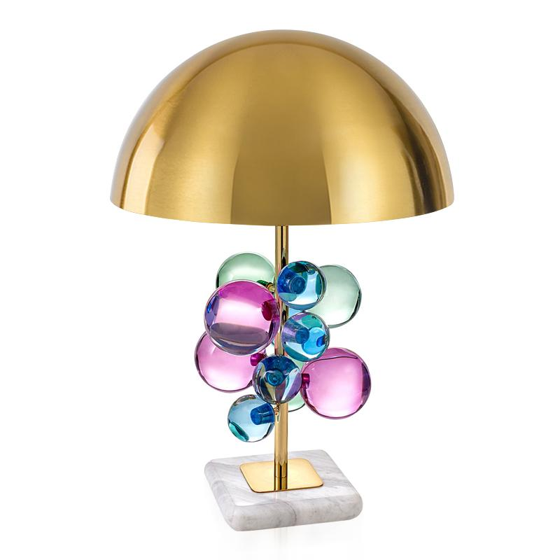 2019 Modern Marble Table Lamps Colorful And Clear Glass Crystal Ball