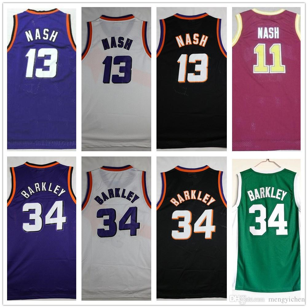 a8eff21daac Stitched Men 13 Steve Nash Jerseys Sportswear Vintage Black Yellow ...