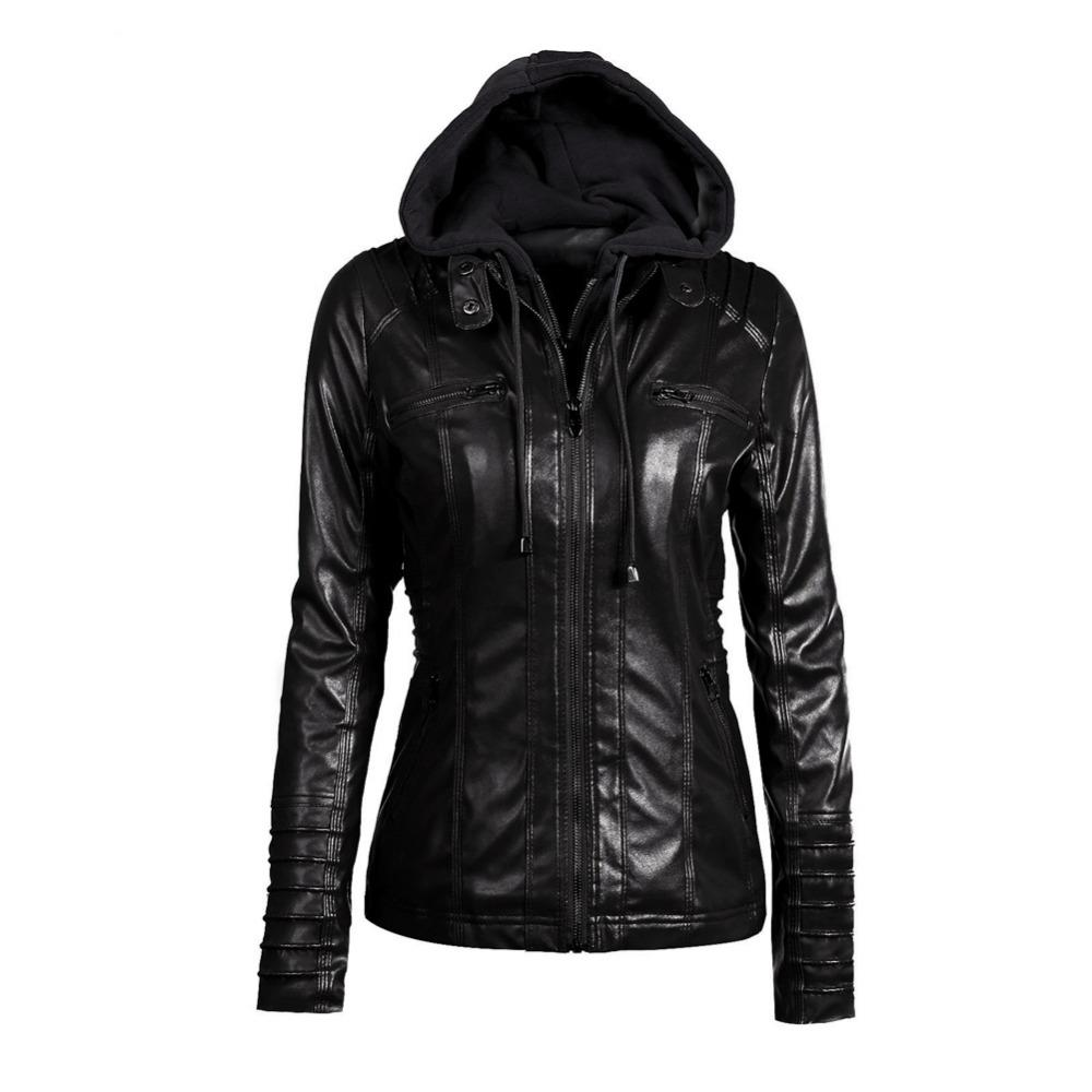 9a9c405c482c2 2019 Nitree Plus Size Womens Clothing 2018 Winter Faux Leather Hooded Jacket  Zippered Hoodie Parkas Slim Motorcycle Jacket Coat Cheap From Luweiha