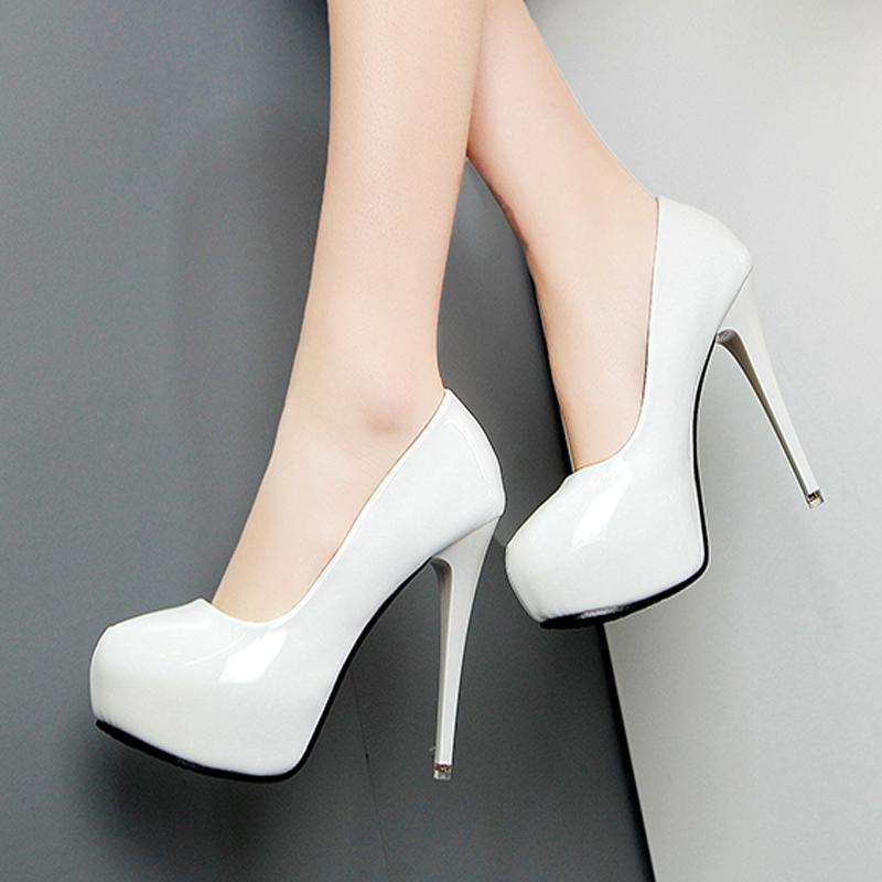 Wedding White Dress Toe Black On Leather Pointed Pumps Sexy High Heels 12cm Platform Slip Shoes Red Women zGVpLqSUM