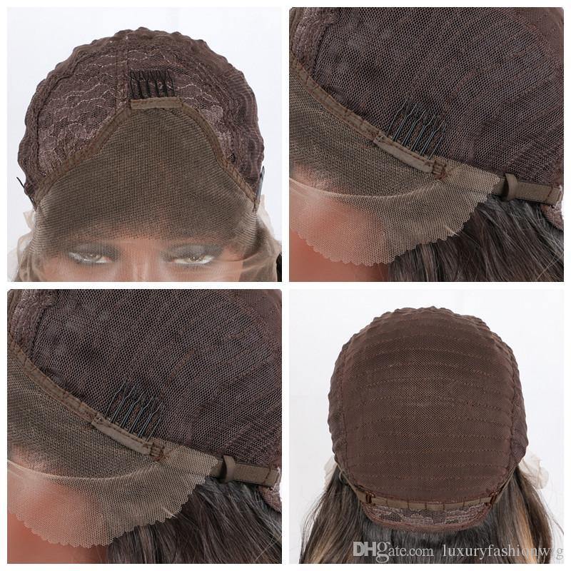 Парик фронта шнурка парик 66см / 26 дюймов длинные прямые женщины парик фронта шнурка смешанный цвет жаропрочных синтетических волос швейцарские парики шнурка кабелл парики