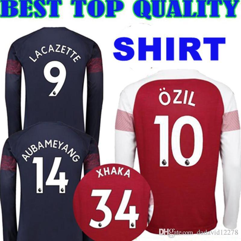 a08662d39d6 2019 Long Sleeve 2018 2019 Arsenal Gunners OZIL AUBAMEYANG Soccer Jersey 18 19  ALEXIS WILSHERE GIROUD LACAZETTE CHAMBERS Away Blue Football Shirt From ...