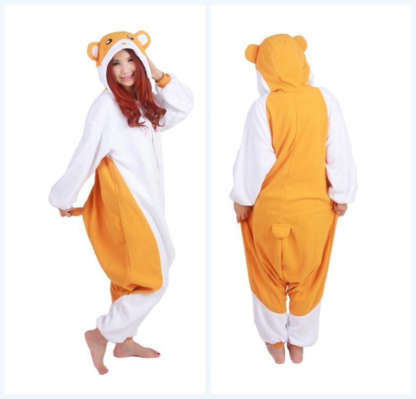 008776c08074 Cartoon Animal Cute Hamtaro   Trotting Hamtaro Hamster Soft Pajamas Anime  Party Cosplay Costume Adult Onesie Sleepwear Pyjamas Cosplay Tailor  Animecosplay ...