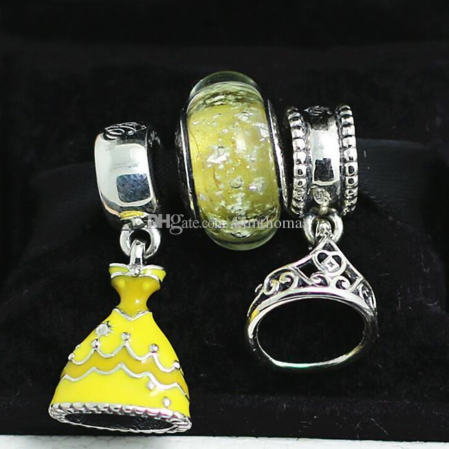 3 unids / set conjuntos sueltos de bricolaje 100% 925 vestido de plata esterlina encantos encantos del grano adapta a las pulseras del encanto europeo de la joyería de pandora