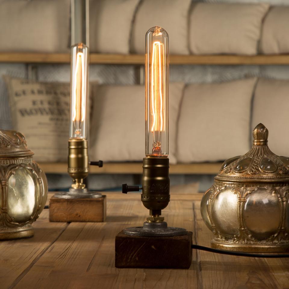 Best Quality Loft Vintage E27 Holder Edison Bulb Table Lamp Wood Base Light Dimmer Switch Control Desk Lamps At Dhgate