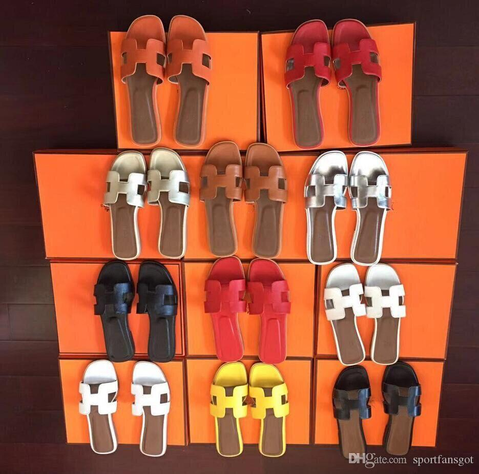 9c2d891011f35f Acheter Taille 35 41 Femmes Designer Sandales Luxe Glisse En Cuir Avec  Mélanger Couleurs Sac À Poussière Designer Chaussures De Glisse De Luxe Été  Large ...