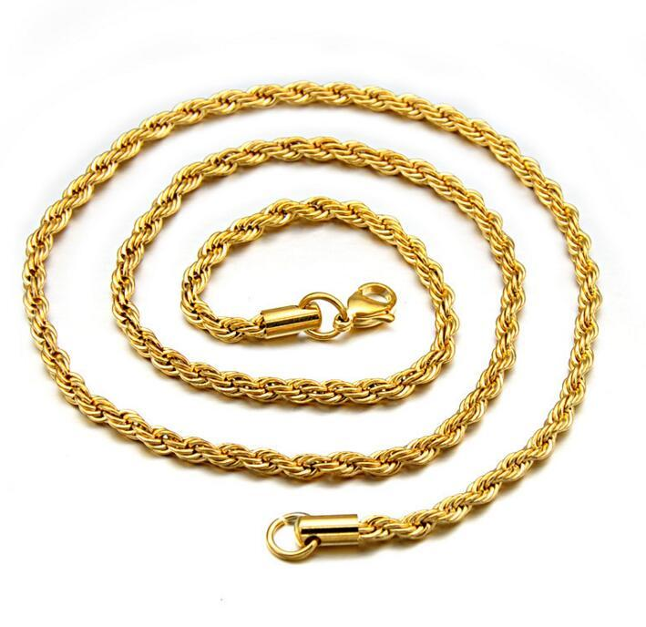 3MM Stainless Steel Gold Plated Twist Rope Chain Necklace Fashion for Men  Womens Gold Chains Necklace Party Favor