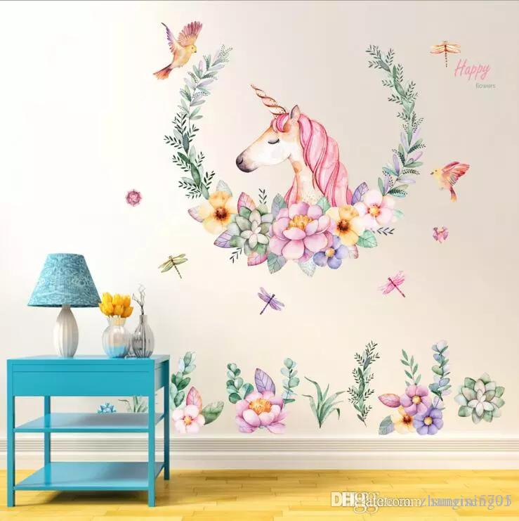 Cartoon Unicorn Wall Sticker Baby Girl Room Decor Kids Bedroom Self