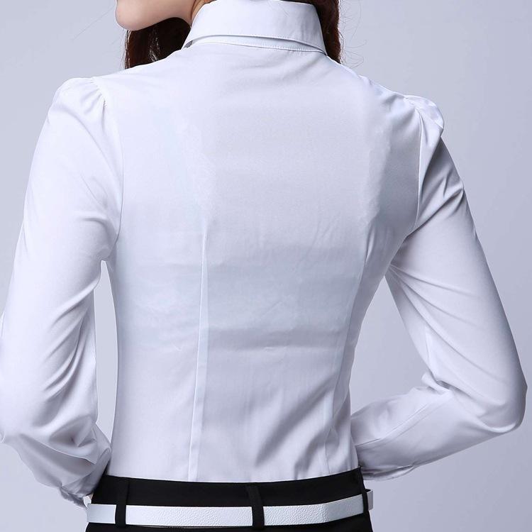 Camisa Formal Roupas Femininas 2018 Novo Fino de Todos Os Fatos de Manga Longa Blusa Branca Elegante OL Escritório Senhoras Desgaste do Trabalho Plus Size Tops