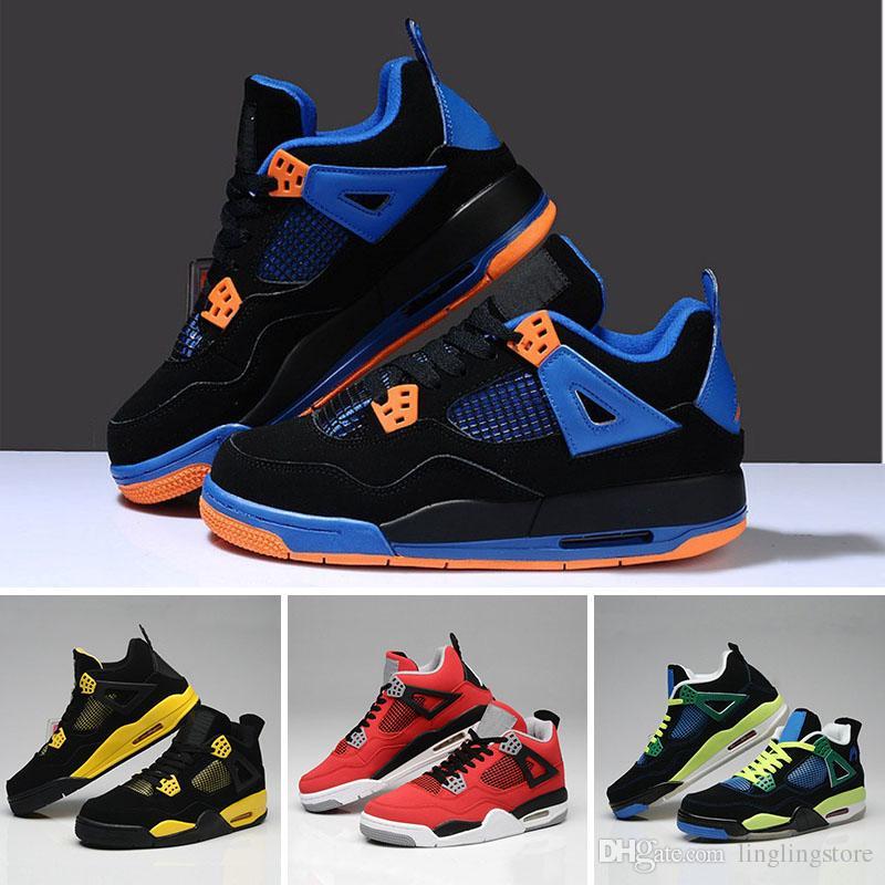 huge selection of dd3af 1ca5a Großhandel Nike Air Jordan Aj4 Heißer Verkauf Des Mann 4 4 Basketball  Schuhe Authentischer Spieler Weißer Zement Vier Feuer Rote Gezüchtete Stier  Männer ...