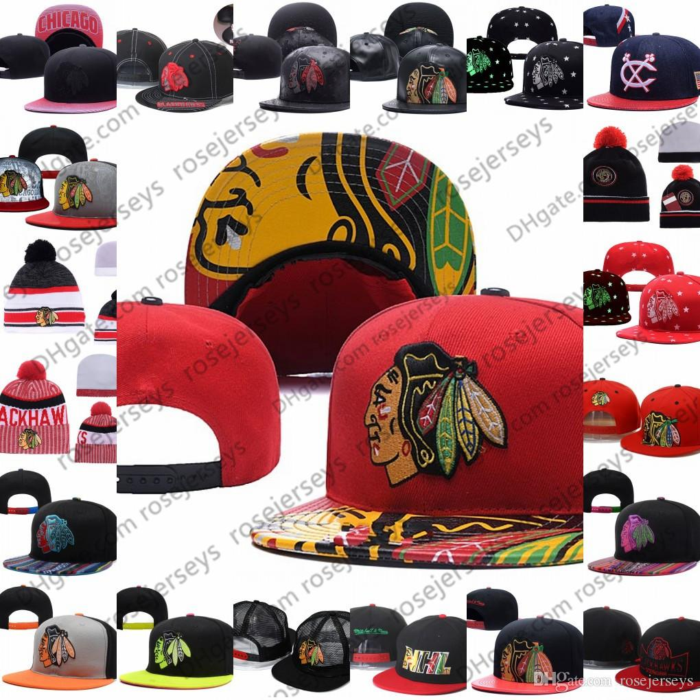 989eb5d69 Chicago Blackhawks Ice Hockey Knit Beanies Embroidery Adjustable Hat  Embroidered Snapback Caps Black White Red Gray Stitched Hats One Size