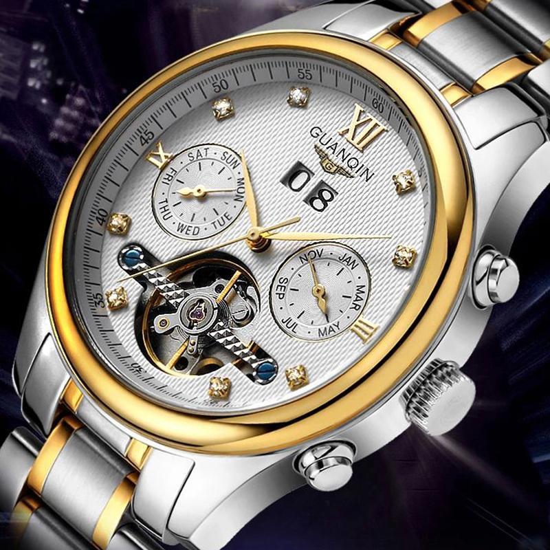 3869488b3d8b Compre Guanqin Top Marca De Los Hombres Reloj Tourbillion Relojes De Los  Hombres De Acero Inoxidable Automático Mecánico A Prueba De Agua De Lujo  Relojes De ...