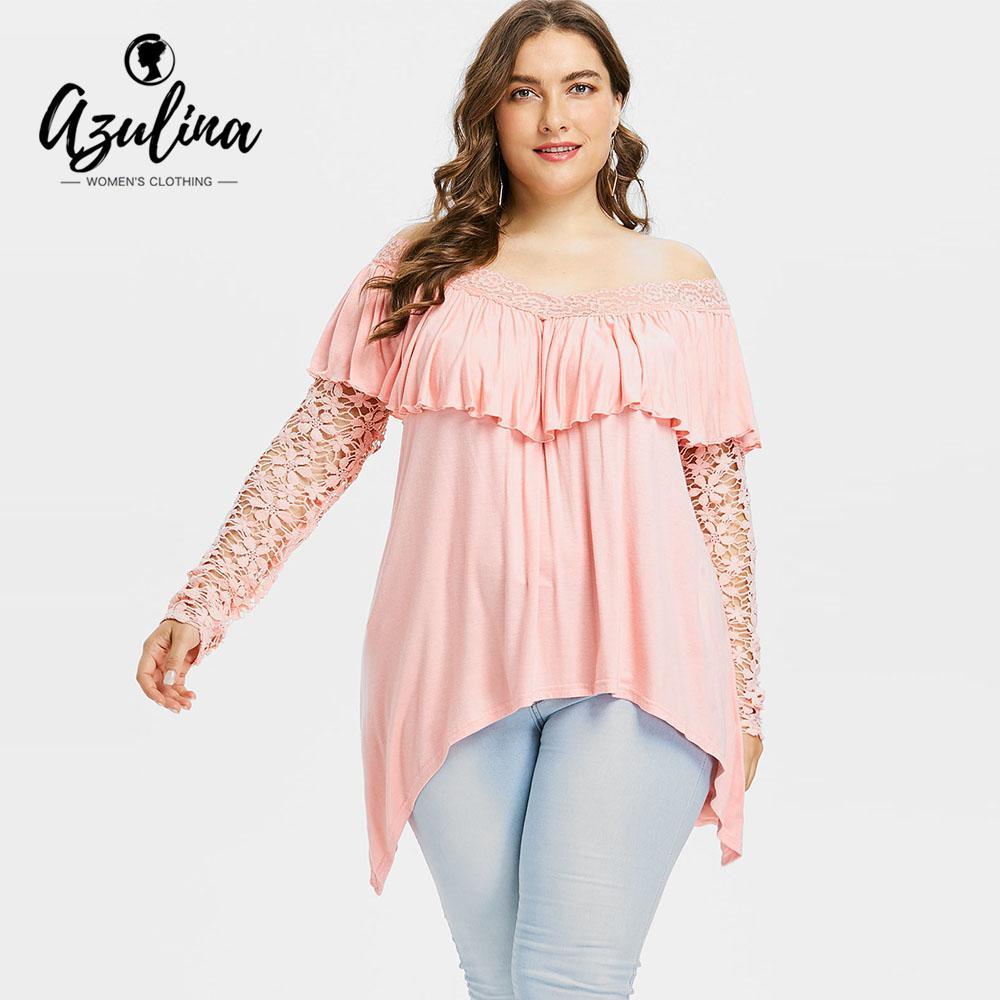 1fe5ba3a315c96 AZULINA Plus Size Lace Sleeve Ruffle Top Women T Shirt Summer Autumn Off  The Shoulder Long Sleeve T Shirt 2018 Ladies Tops 5XL Popular T Shirt Funny  It ...