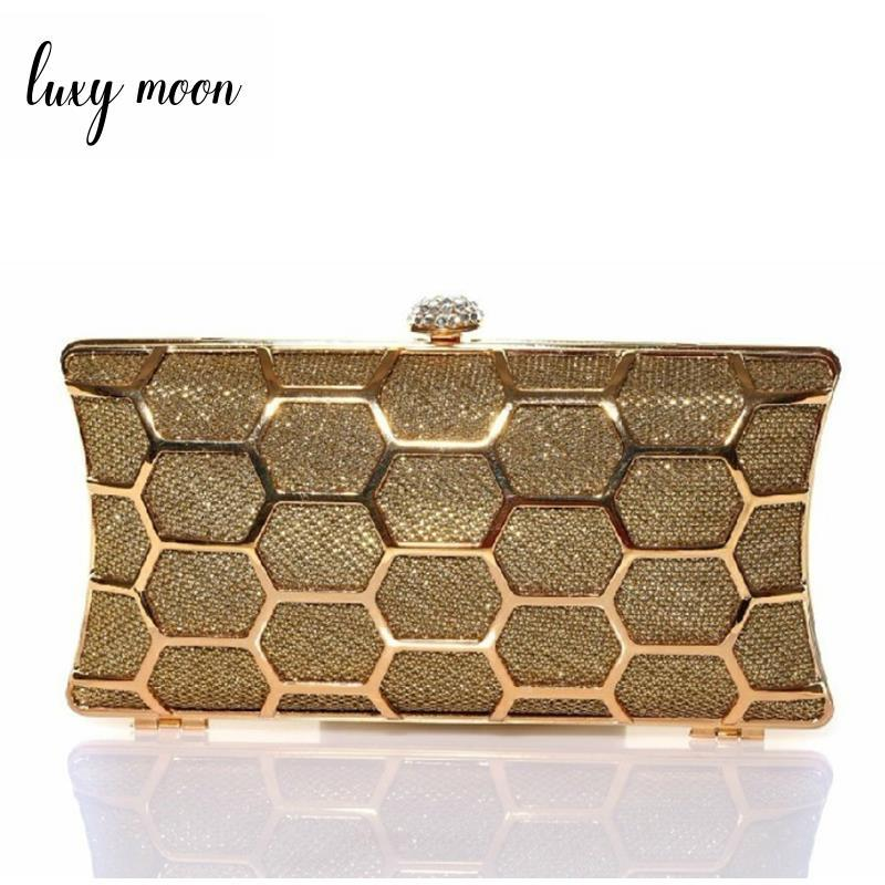 New 2018 Gold evening bags luxury bling bling