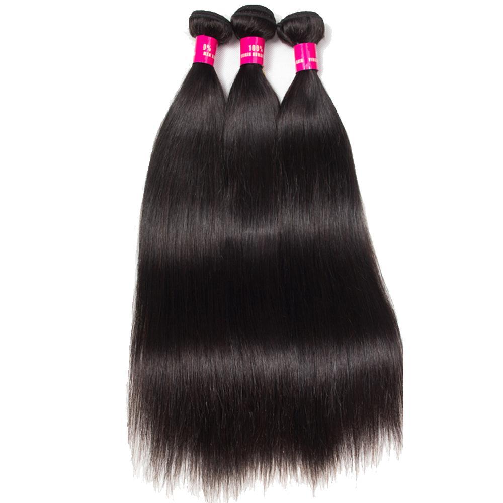 8A Ile Brezilyalı Saç 3 Demetleri Dantel Kapatma 100% Işlenmemiş Vücut Dalga Düz Gevşek Dalga Kıvırcık İnsan Saç Uzantıları Boyanabilir saç örgüleri