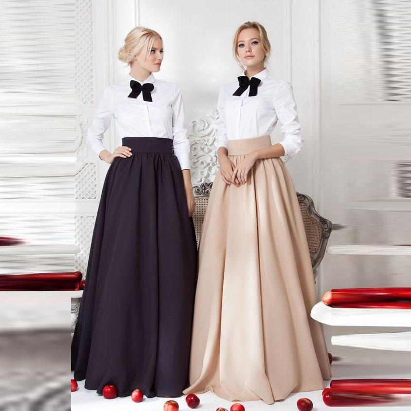 ced857160 Personalizado de buena calidad Mujeres Falda Imperio Cintura Una línea de  piso Longitud de la falda larga Elegante Modest Full Maxi