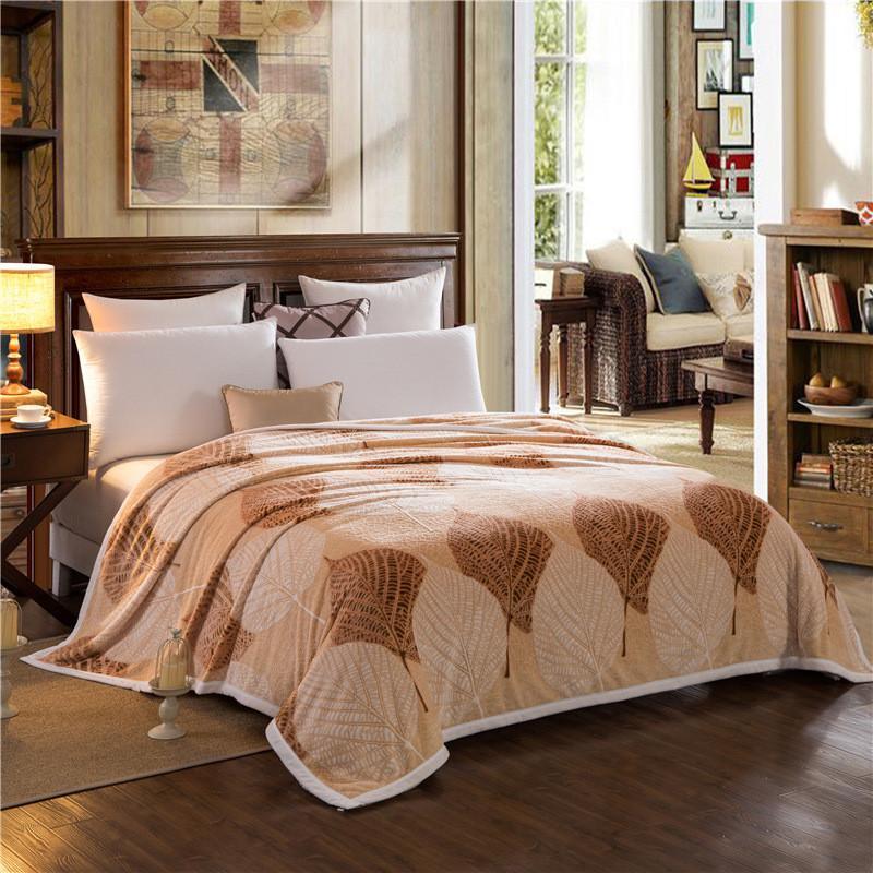 3d Embossed Flower Fleece Blanket Brown Leaf Flannel Bed Sheet Queen