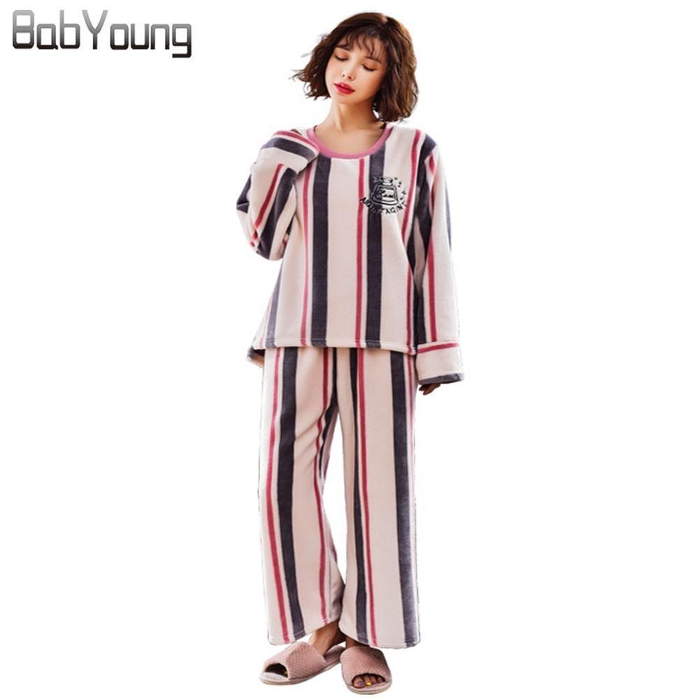 2019 BabYoung Winter Warm Women Pajamas Set Striped Flannel Pyjama Femme  Nightwear Long Sleeve Ladies Sleepwear Pijama Mujer PJ From Amaryllier 695f93cb8