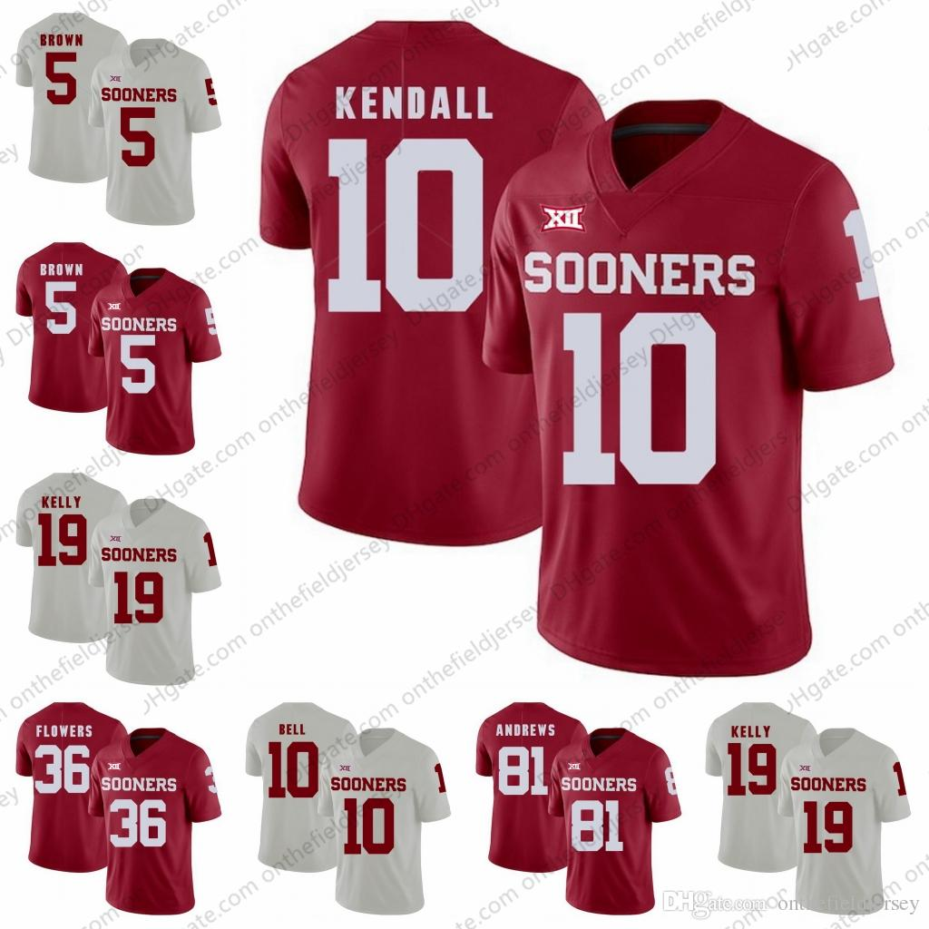 watch 801ec fdf32 NEW Oklahoma Sooners #5 Marquise Brown 10 Austin Kendall 10 Blake Bell 19  Caleb Kelly 36 Dimitri Flowers 81 Mark Andrews Football Jerseys
