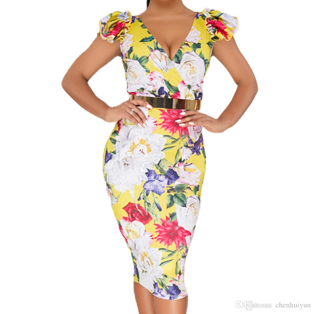 fa45a709c1e Hot Sale Yellow Bodycon Midi Dress with Floral Print with Factory Price Midi  Dress Wholesale Dress Print Dress Online with  22.86 Piece on Chenhuiyun s  ...