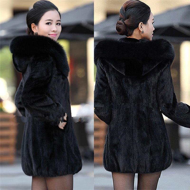 5f5030713cd 2019 Women Winter Hooded Fake Fur Coats Plus Size Vintage Artificial Black  Faux Fox Fur Coat With Hood Big Size 002 From Clothwelldone