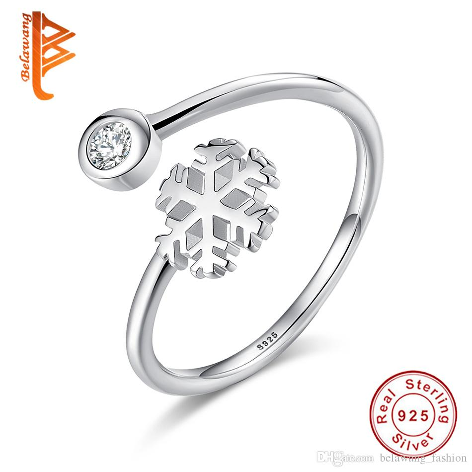 2ce3205dc 2019 BELAWANG Generous 925 Sterling Silver Snowflake Open Finger Rings For  Women Girl Clear Austrian Crystal Ring Jewelry Accessories From  Belawang_fashion, ...