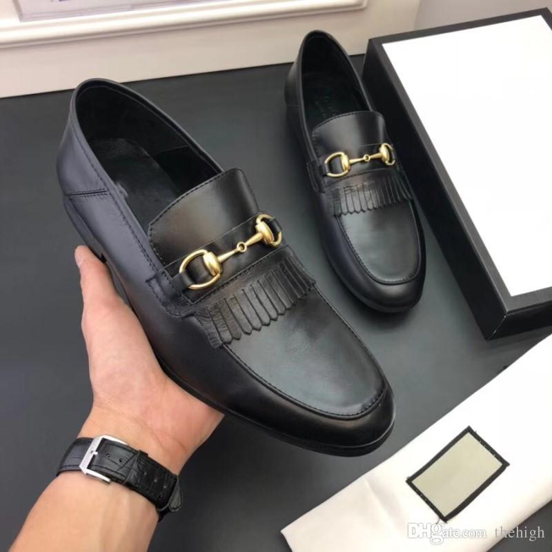 2018 Luxus Mens Loafers Lederschuhe Kleid Hochzeit Casual Walk Schuhe Büroarbeit Made in Italy Schuhe Tops Size38-44