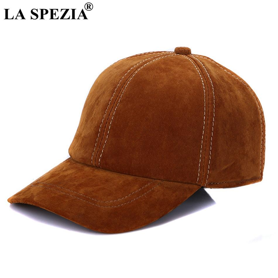 LA SPEZIA Brown Baseball Caps For Men Retro Genuine Leather Baseball Caps  Male Adjustable Autumn Winter Classic Leather Dad Hat Ny Cap Mens Caps From  ... 3fa663803d0