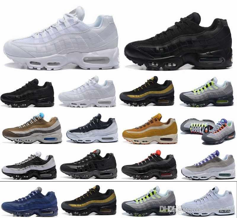 online retailer 38f28 3ec58 2018 New Ultra 95 OG 20th Anniversary Men Running Shoes Triple Black White  Grey 95s Sports Sneakers Designer air Mens Trainers Chaussures