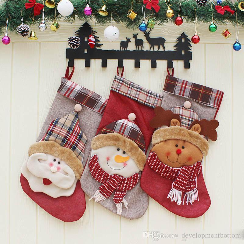 Christmas Stocking Plaid Wool Santa Claus SnowmanSock Gift Bag Kids Xmas Noel Decoration Candy Bag Bauble Christmas Tree Ornaments