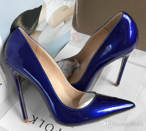 83c40a32b6 Brand Womens Shoes High Heels Women Pumps 12CM Heels Blue Shoes Woman Pumps  Sexy Pointed Toe High Heels Wedding Shoes Dress Shoes For Men Leather Shoes  From ...