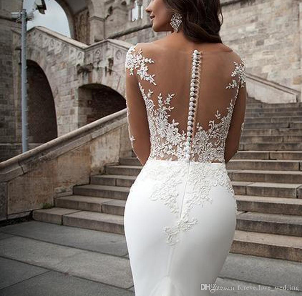 2018 Sheer Neck Long Sleeves Wedding Dresses Milla Nova Mermaid Illusion Lace with Buttons Back Boho Sweep Train Chiffon Wedding Bridal Gown