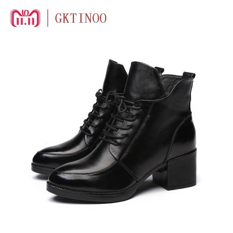 6c05de99f Compre Gktinoo 2018 Moda Ankle Boots De Couro Genuíno Das Mulheres De Pele  De Inverno Quente Botas Martin Preto Grosso De Salto Alto Sapatos De Couro  De ...