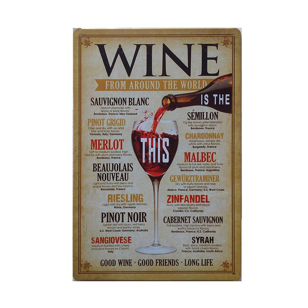 Retro Metal Tin Sign Wall Decor Painting Bar Wine Style Vintage Metal Tin Sign Poster Craft Pub Decoration For Club Home Decor Y18102409
