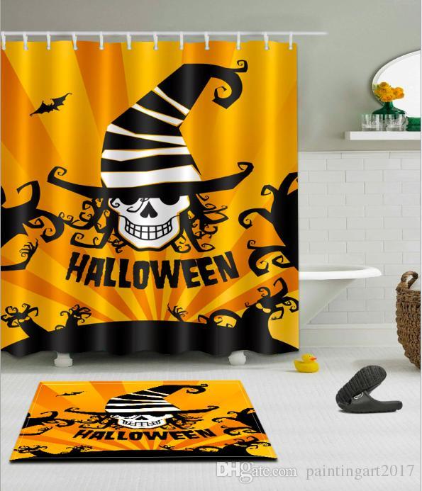 WITCH HAT SKULL Pattern 3D Print Custom Waterproof Bathroom Modern Shower Curtain Polyester Fabric Door Mat Sets UK 2019 From