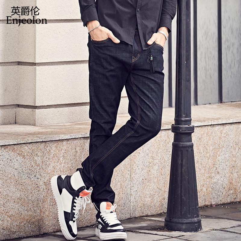 Compre Enjeolon Marca Nueva Calidad De Invierno Pantalones Largos Pantalones  Vaqueros Pantalones De Algodón Hombre Sólido Negro Varones Causales  Masculinos ... 28978fa83459