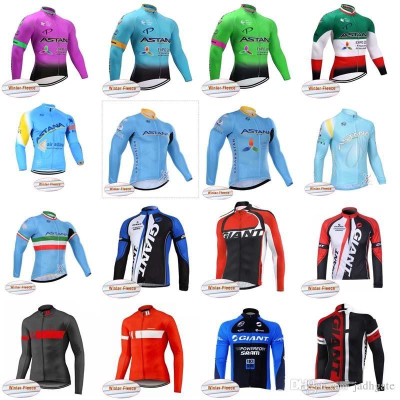 61920d889 ASTANA GIANT Team Cycling Winter Thermal Fleece Jersey Cycling Long Sleeves  Clothing Mountain Bike Outdoor Sportswear D1019 ASTANA Cycling Jersey  Winter ...