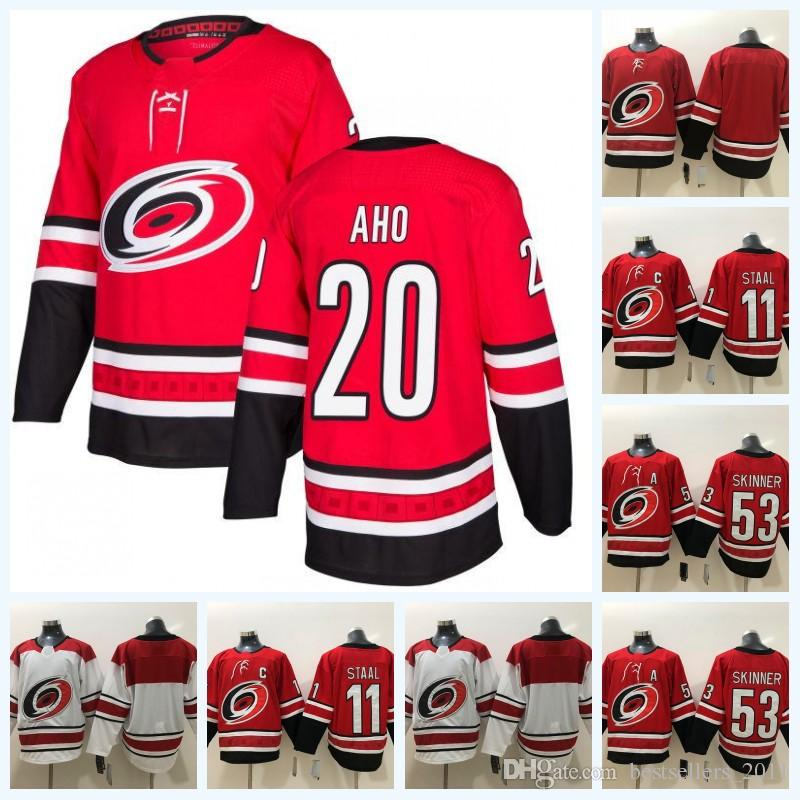 604702630 2018 Carolina Hurricanes Ice Hockey Jersey 11 Eric Staal 53 Jeff Skinner 20  Sebastian Aho Stitched Red White Jerseys S 3XL UK 2019 From  Bestsellers 2011
