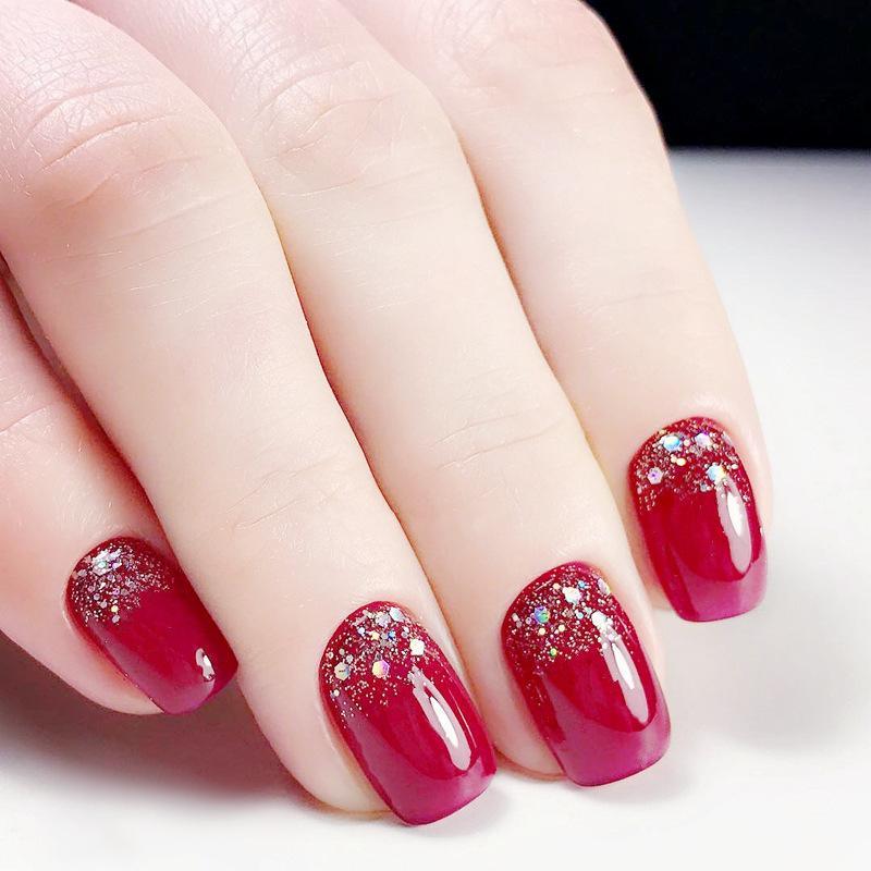 Elegant Red Glitter Design Finished False Nailssquare Head Short