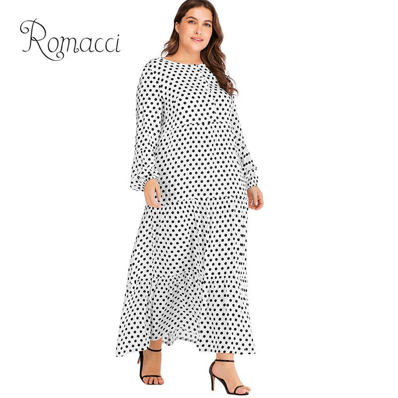 5e5a5e19bf 2019 Romacci Women 5XL Plus Size Dress Polka Dot Print Buttons Ruffle Long  Sleeve Dress Loose Maxi Gown Beach Vintage Boho One Piece From Duanhu
