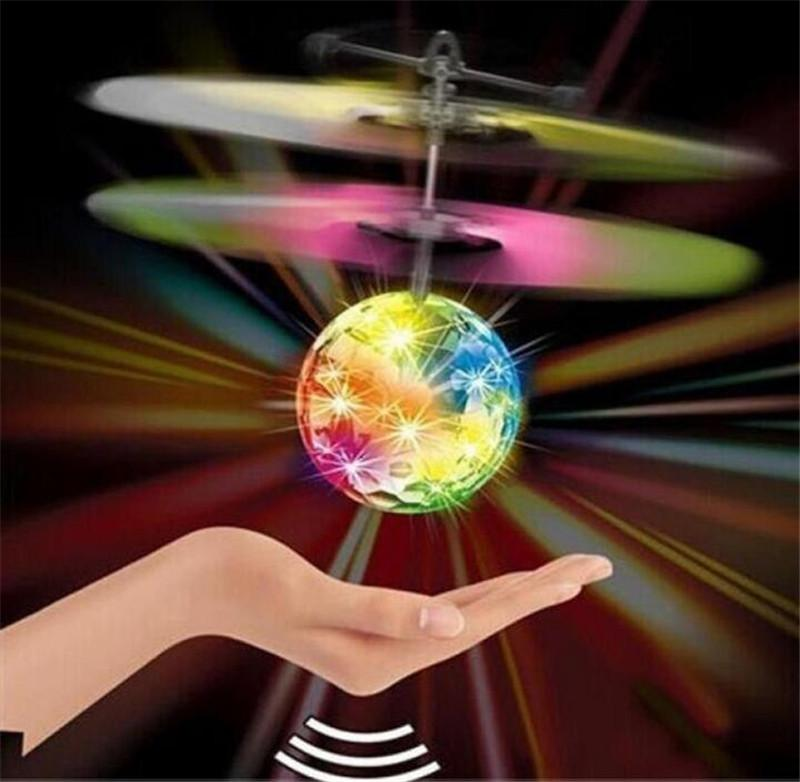 LED Flying Ball Helicopter Crystal Flying flash LED light up Remote Balls Toys RC Electric Infrared Sensor Flying Toys with retail box