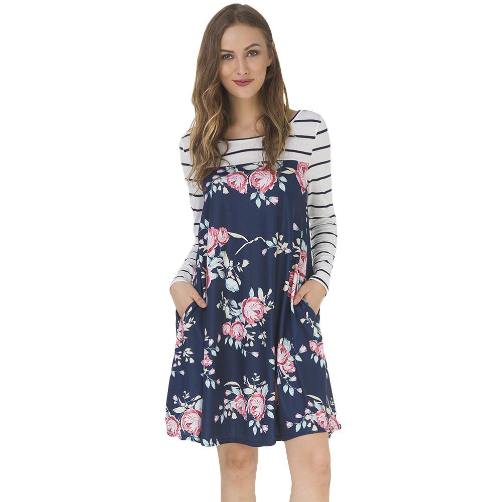 9dc68e18af Women Autumn Floral Stripe Print Dress Long Sleeve Pockets Casual Loose T  Shirt Dress Vintage Midi Swing Dress Vestido De Festa Best Dresses Long  Dresses ...
